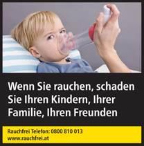 Warnhinweis: Wenn Sie rauchen, schaden Sie Ihren Kindern, Ihrer Familie, Ihren Freunden