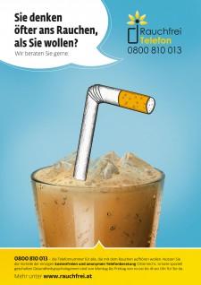 Poster Glas mit Zigarettenstrohhalm
