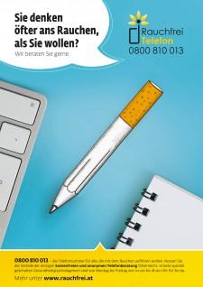 Poster Schreibtisch mit Zigarettenbleistift