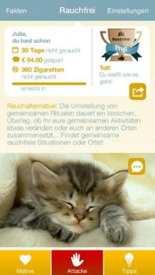 Rauchfrei_App_Rauchfrei Homescreen
