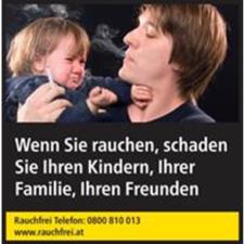 Zigarettenpackung mit Bild, Warnhinweis und Hilfsangebot